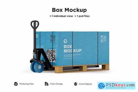 Hand pallet truck paper box mockup