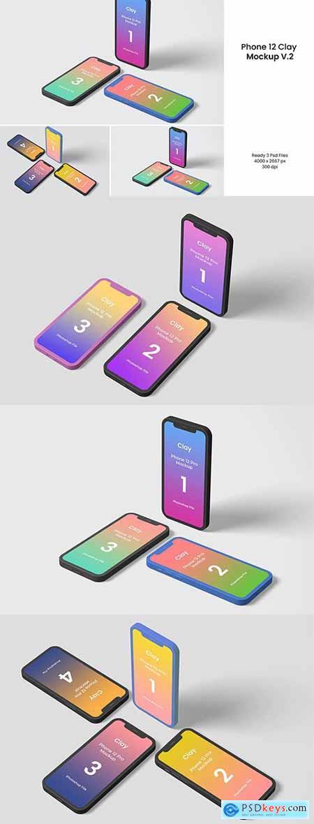 Phone 12 Clay Mockup V.2