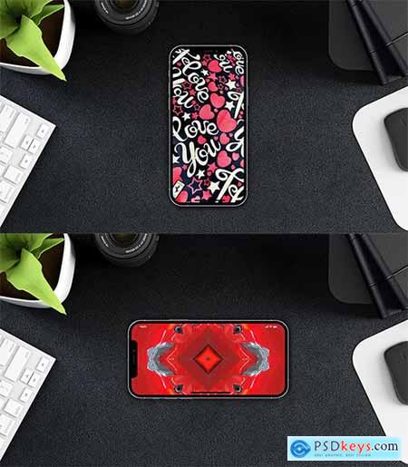 iPhone 12 PSD Mockups with Background