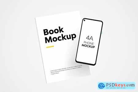 Book & 4A Phone Mockup