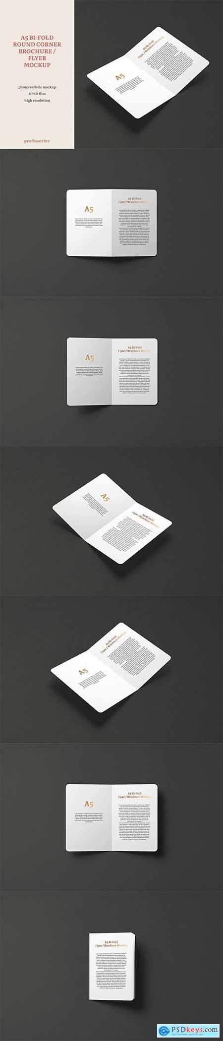 A5 Bi-Fold Round Corner Brochure - Flyer Mockup