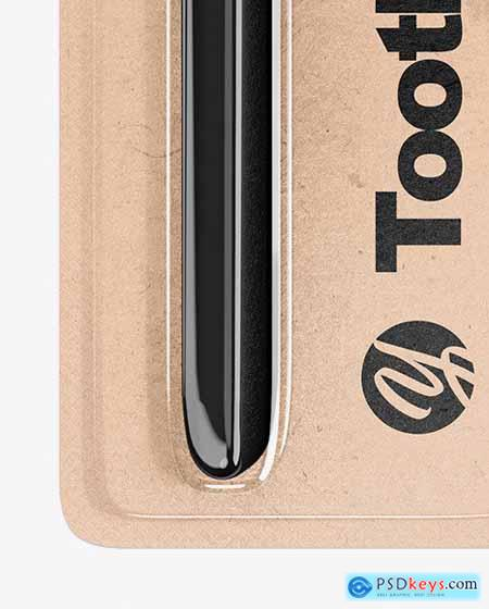 Kraft Toothbrush Blister Pack Mockup 76340
