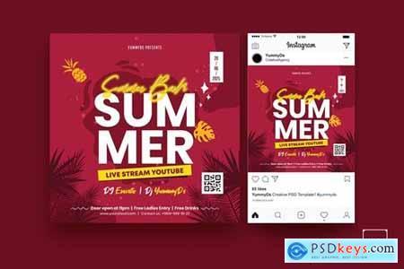 Summer Bash Square Flyer & Instagram Post