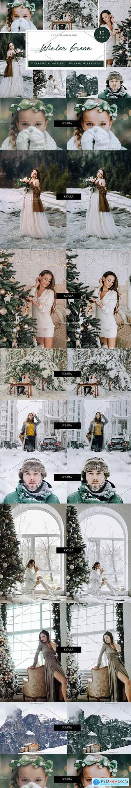 Creativemarket 12 x Lightroom Presets, Winter Green 5962772