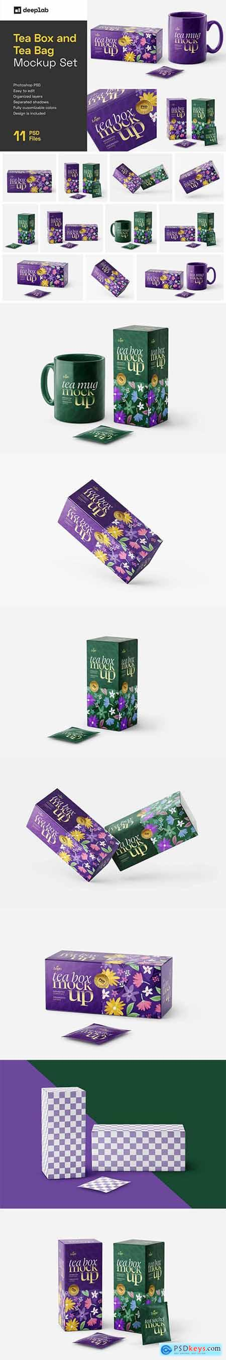Creativemarket Tea Box and Tea Bag Mockup Set 6037096