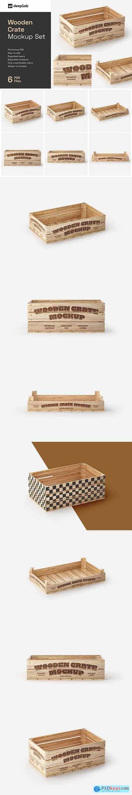 Creativemarket Wooden Crate Mockup Set 6042095