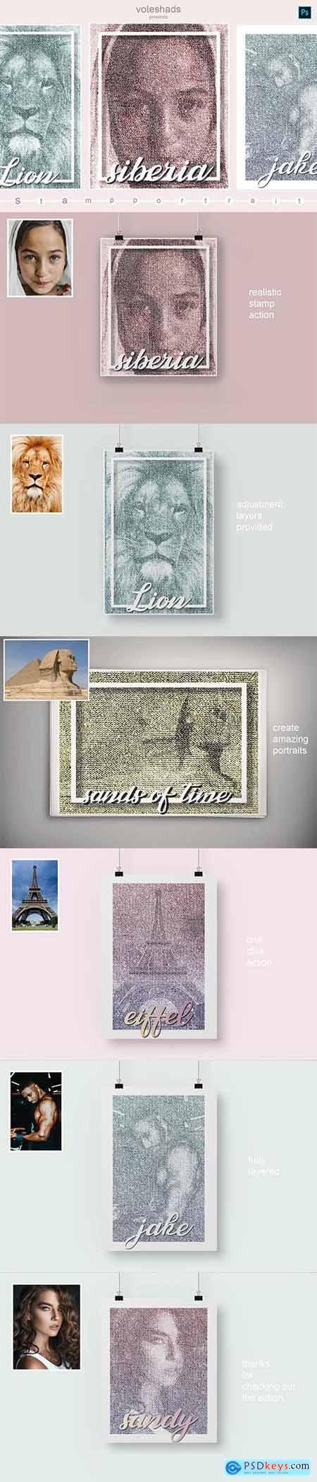 Stamp portrait Photoshop Action 5933908