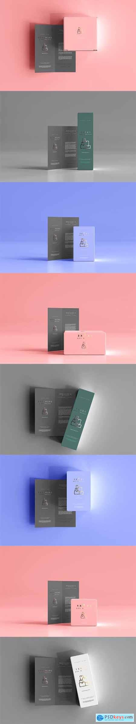 Box with bi-fold brochure mockup