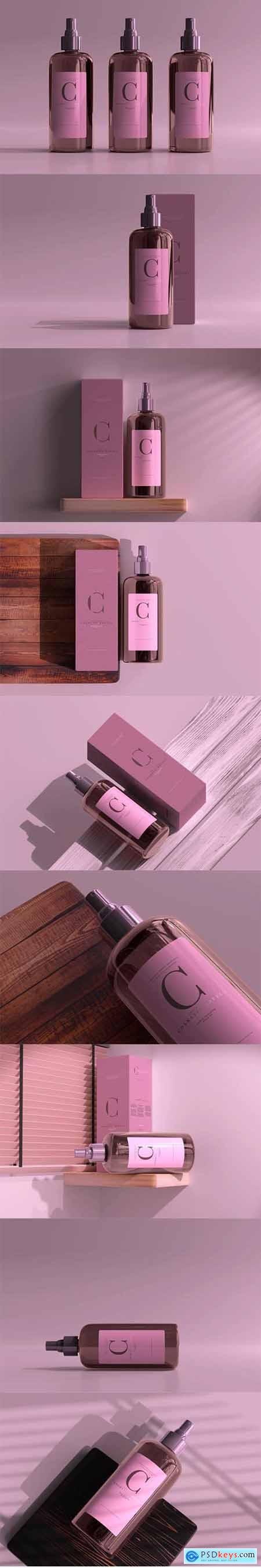 Amber glass cosmetic spray bottle mockup vol.2