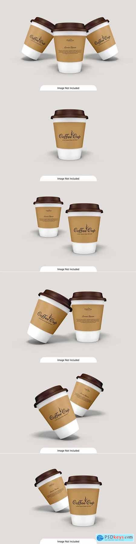 Coffee cup with cardboard mockup