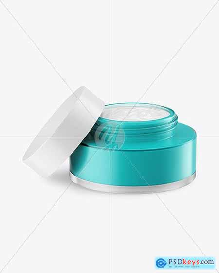 Opened Frosted Glass Cosmetic Jar Mockup 78949