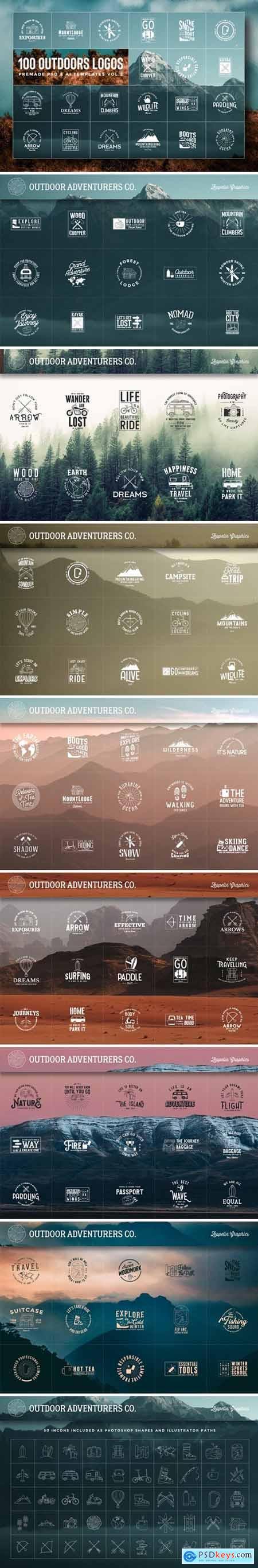 100 Outdoors Adventurers Logos & Illustrations