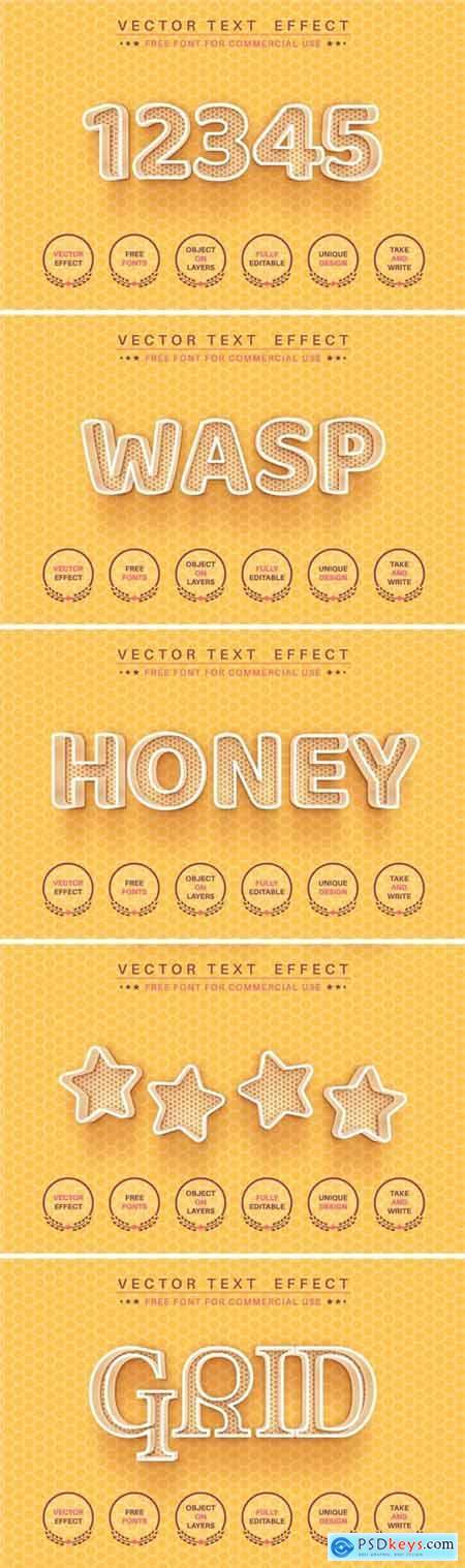 Honeycomb - editable text effect, font style