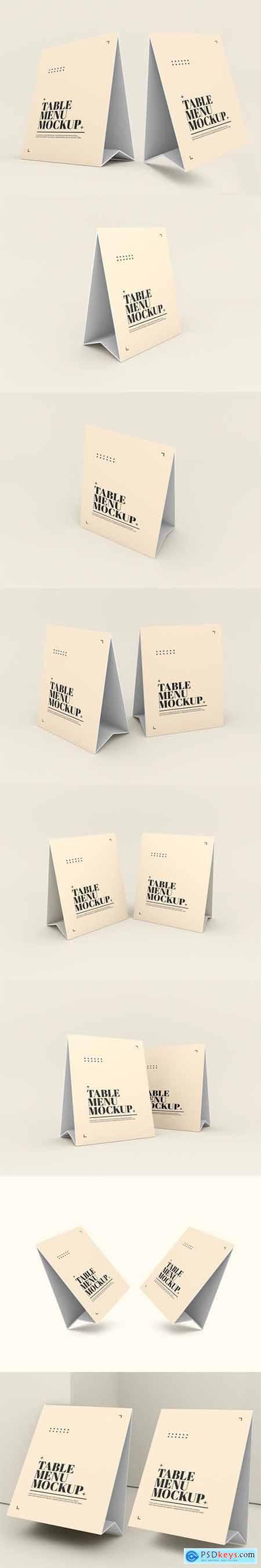 Paper table tent menu mockup