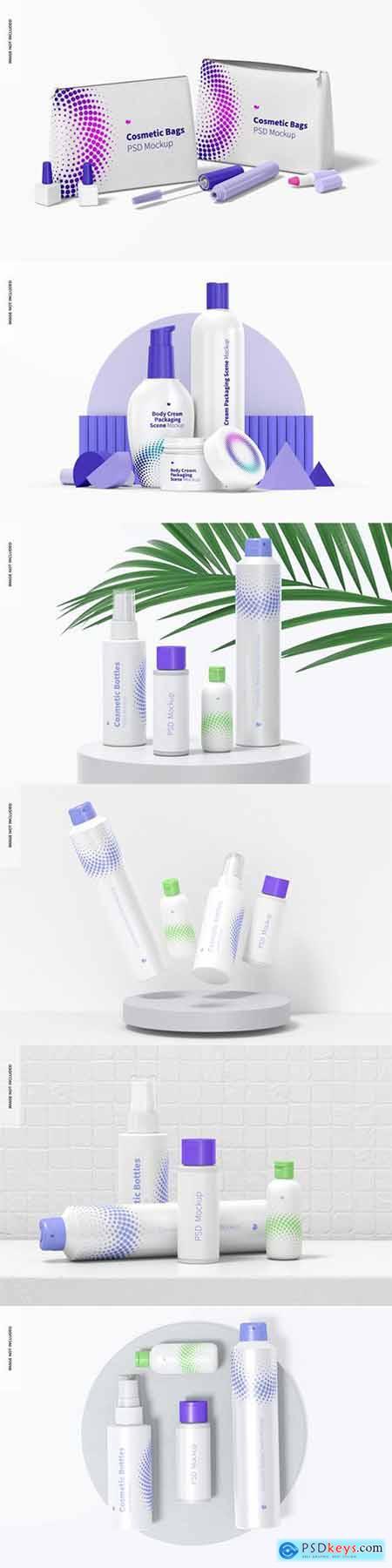 Cosmetic bottles scene mockup