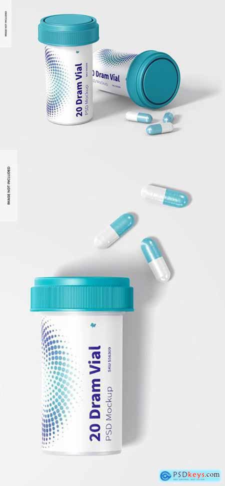 20 dram vials with reversible cap mockup