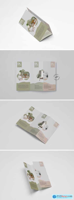 Realistic DL Brochure Trifold Mockup