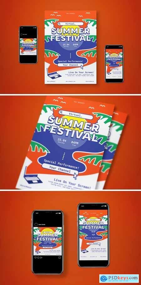 Virtual Summer Festival Flyer Set