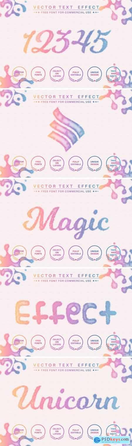 Watercolor unicorn - editable text effect
