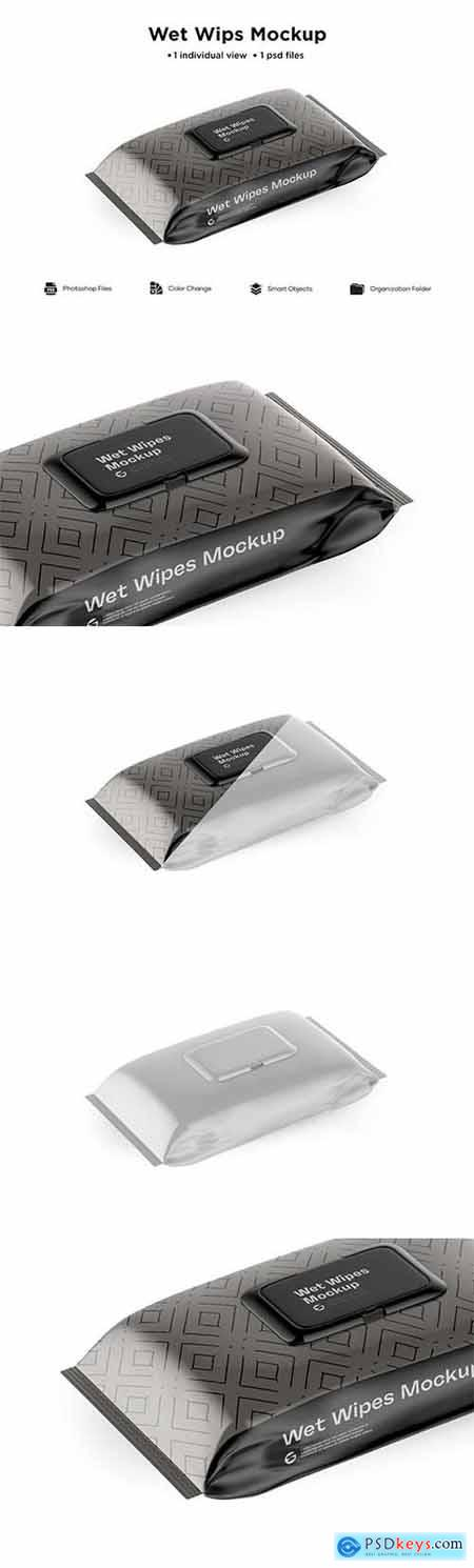 Wet Wipes Pack With Plastic Mockup 6063396
