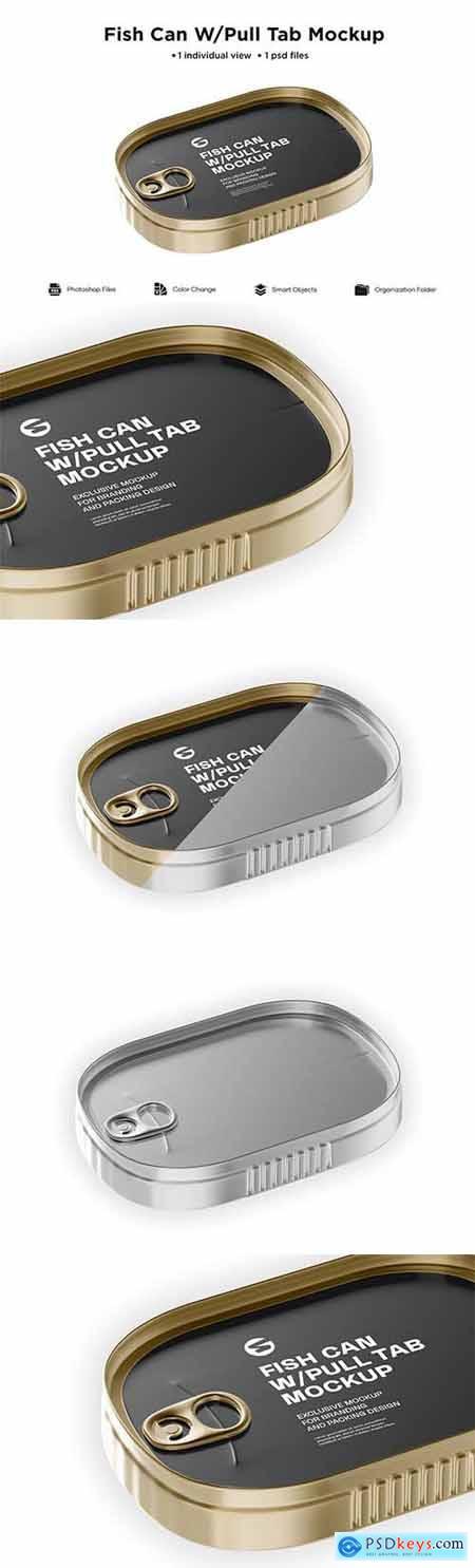 Metallic Fish Can W- Pull Tab Mockup 6063378