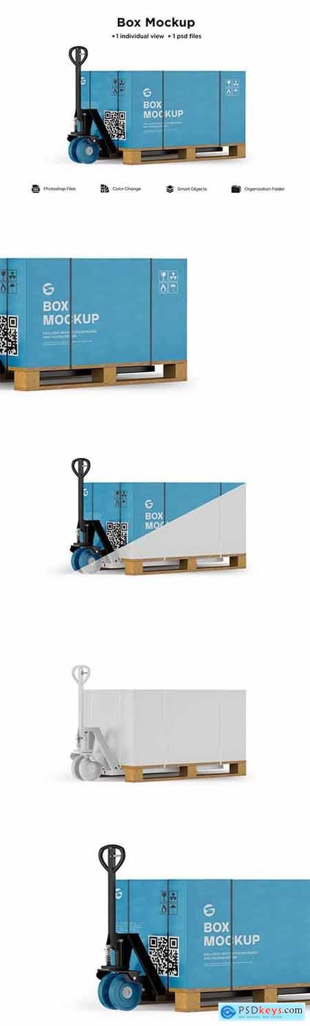 Hand Pallet Truck & Box Mockup 6063319