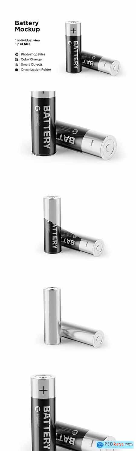 Two AA Batteries Mockup 6063389