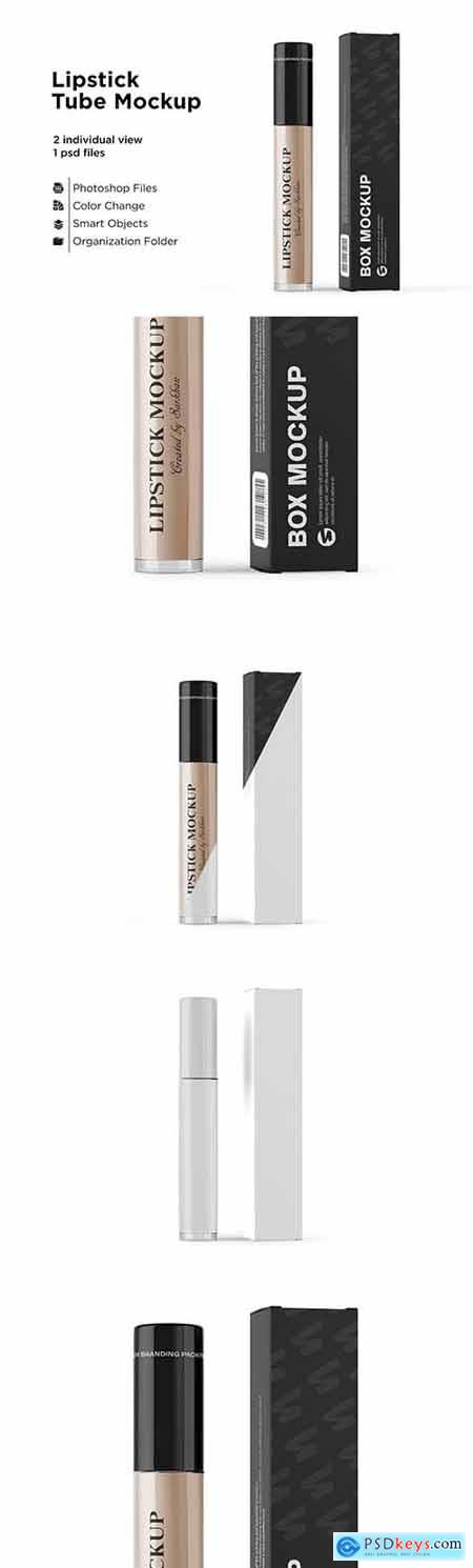 Lipstick Tube with Box Mockup 6063321