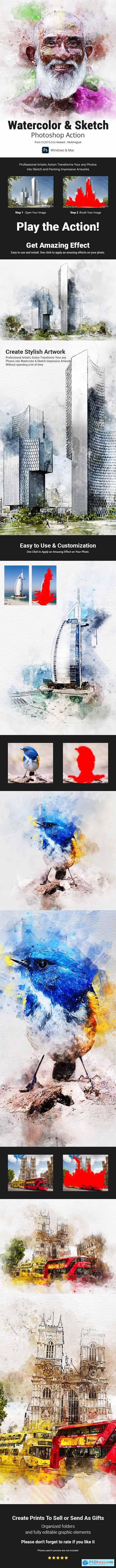 Watercolor & Sketch Photoshop Action 31151841