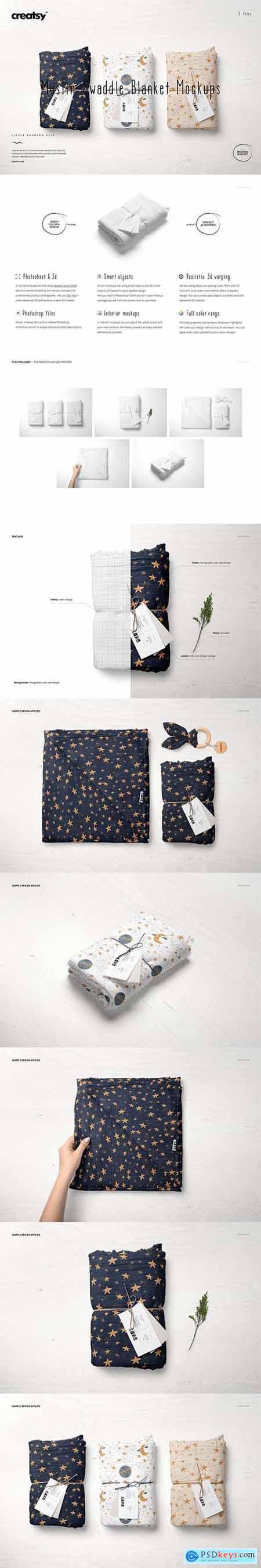 Muslin Swaddle Blanket Mockup Set 6046680
