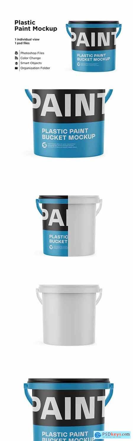 10L Plastic Paint Bucket Mockup 6063384