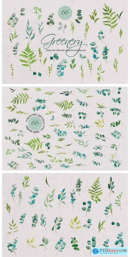 Greenery Watercolor Set 10276183