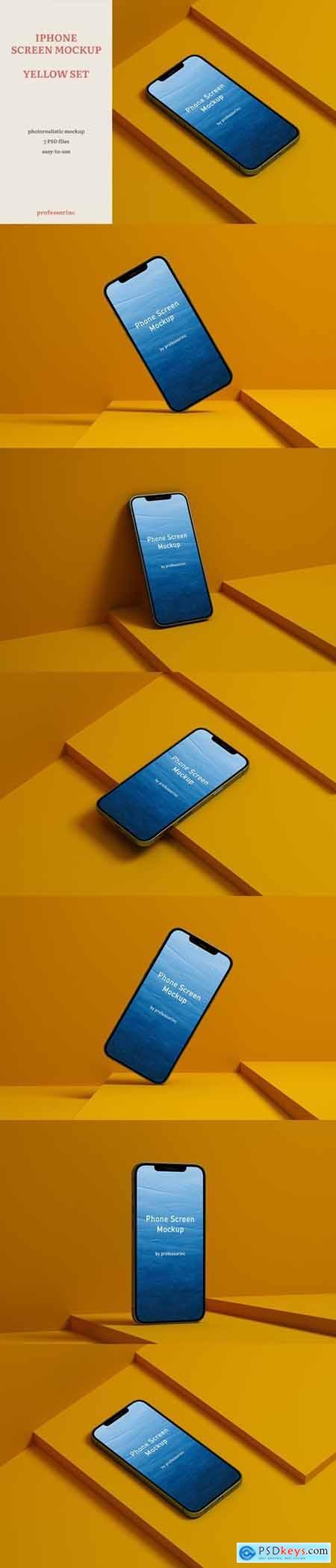 iPhone Screen Mockup — Yellow Set