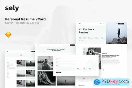 Sely - Personal Resume vCard Sketch Template