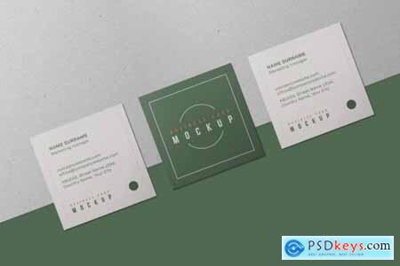 Square Business Card Mockup Set