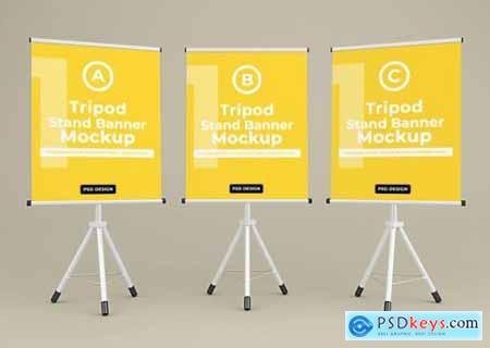Tripod banner stand mockup