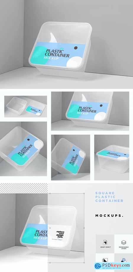 Square Plastic Container Mockups