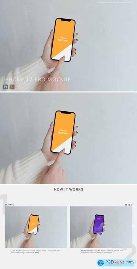 Person Using iPhone 12 Pro Mockup White Background