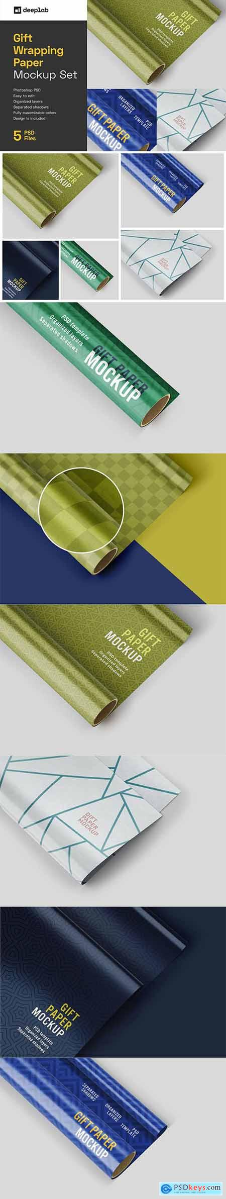 Gift Wrapping Paper Mockup Set 6091139