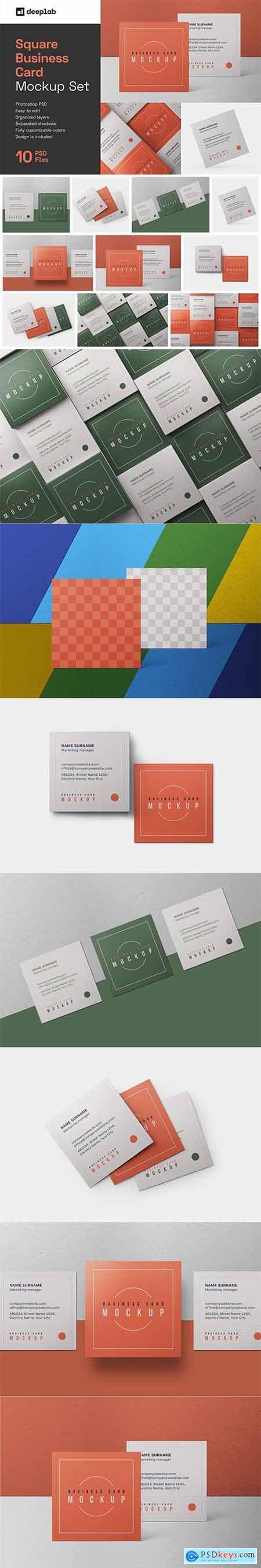 Square Business Card Mockup Set 6091259