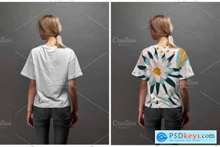 Girl T-shirt mockup (front-back) 5922524