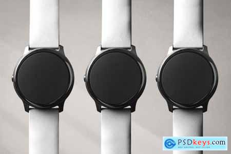Smartwatch screen mockup with various band types