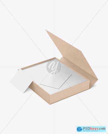 Kraft Paper Box with Business Cards Mockup 82212