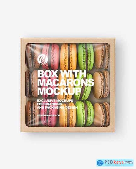 Paper Box With Macarons Mockup 79873