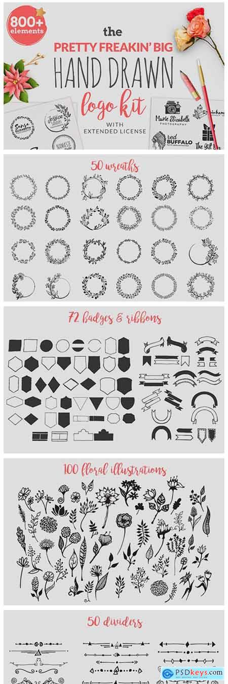 The Pretty Feakin Big Hand-drawn Logo Kit 258834