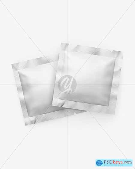 Two Matte Metallic Square Sachets Mockup 82254