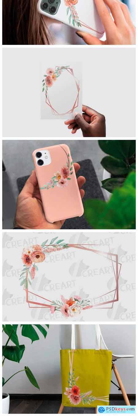 Coral & Blush Pink Floral Bridal Frames 11625024