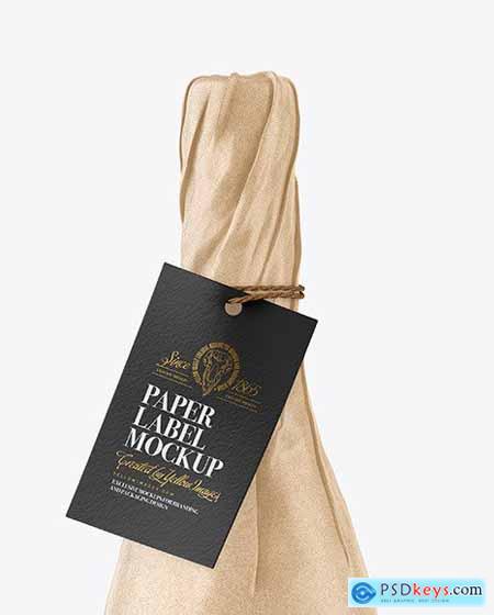 Wine Bottle in Kraft Paper Wrap Mockup 82776