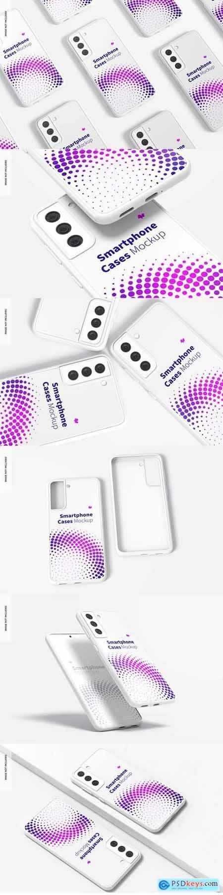 Smartphone cases set mockup
