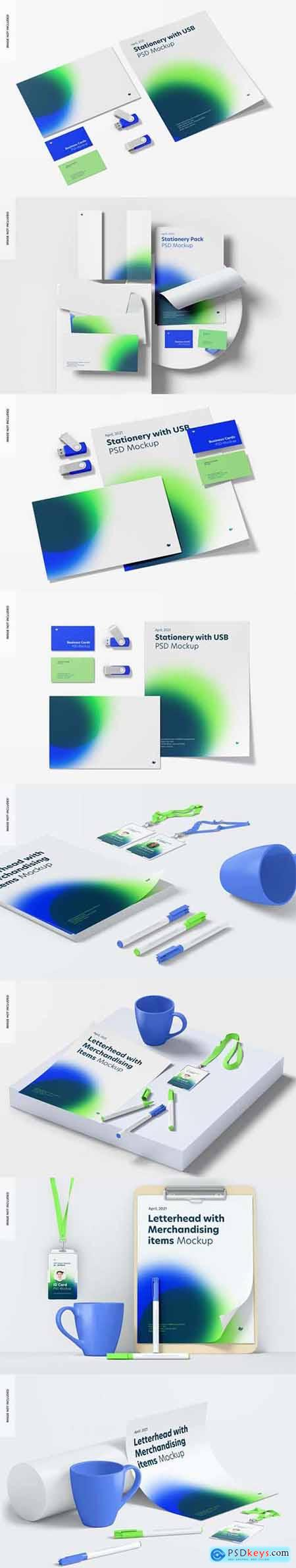 Stationery with usb flash drives mockup